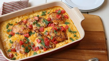 Smothered Chicken Queso Casserole