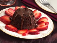 Mini Hot Fudge Cakes and Strawberry Hearts