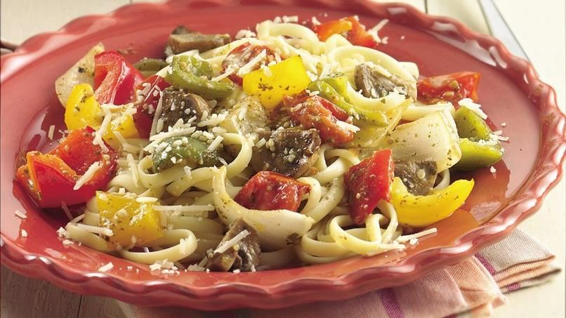 Linguine with Roasted Vegetables and Pesto