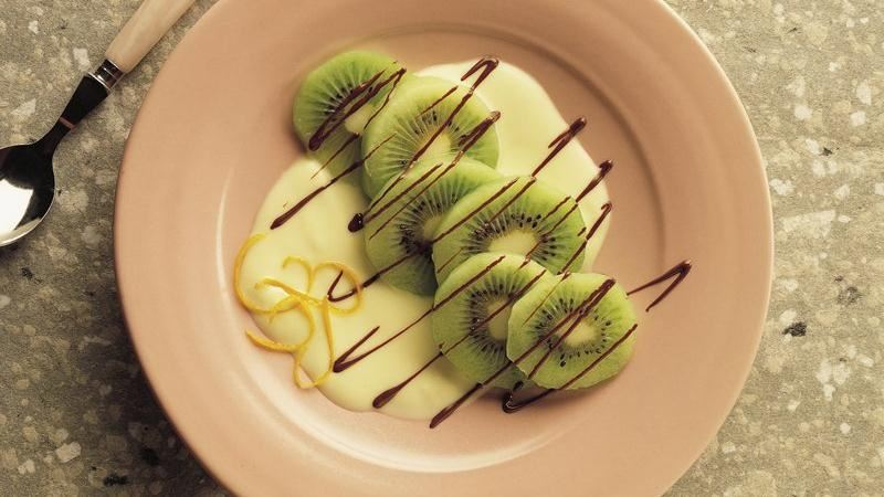 Chocolate-Laced Kiwifruit with Orange Sauce
