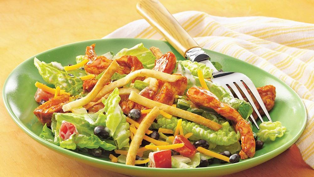 Taco-Seasoned Chicken Salad with Crispy Tortilla Topping