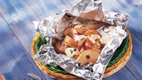 Grilled Chicken and Fruit in Foil