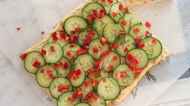 Cucumber Hummus Tart