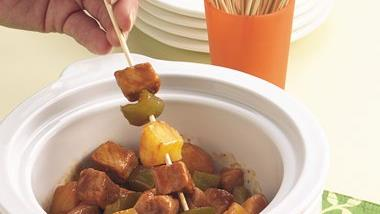 Slow-Cooker Pork and Pineapple on a Stick