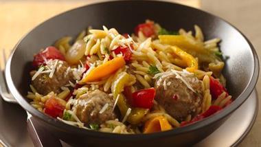 Parmesan Orzo and Meatballs