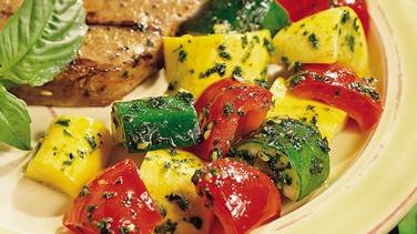 Balsamic Pesto with Squash and Bell Pepper