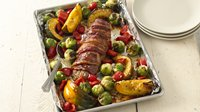 Bacon-Wrapped Pork Tenderloin with Harvest Vegetables