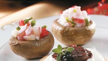 Teriyaki Seafood-Stuffed Mushrooms