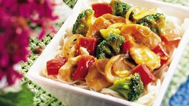 Sweet Red Pepper Turkey Lo Mein