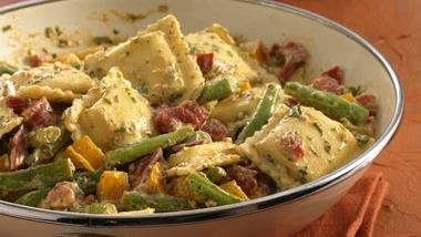 Ravioli and Vegetables with Pesto Cream