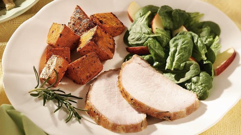 Apple-Glazed Pork Roast with Sweet Potatoes