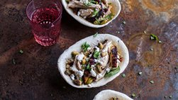 Grilled Chicken Boats with Cranberries and Goat Cheese