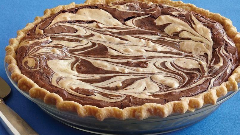 Peanut Butter Swirl Brownie Pie