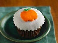 Orange-Filled Chocolate Cupcakes with Fondant