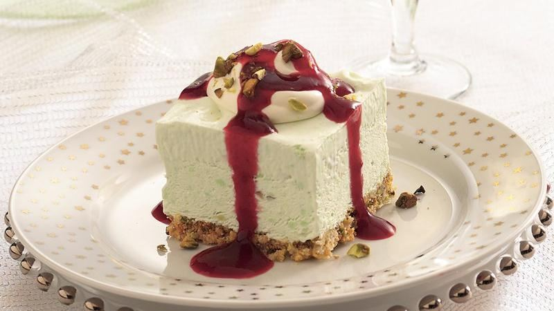 Frozen Pistachio Cream Dessert with Ruby Raspberry Sauce recipe from ...
