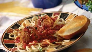 Spaghetti and Spicy Rice Balls