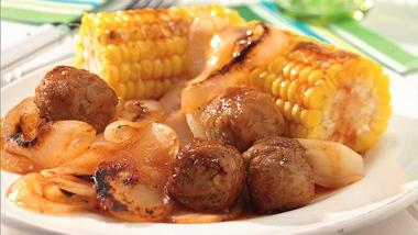 Grilled Honey-Barbecue Meatball Foil Packs