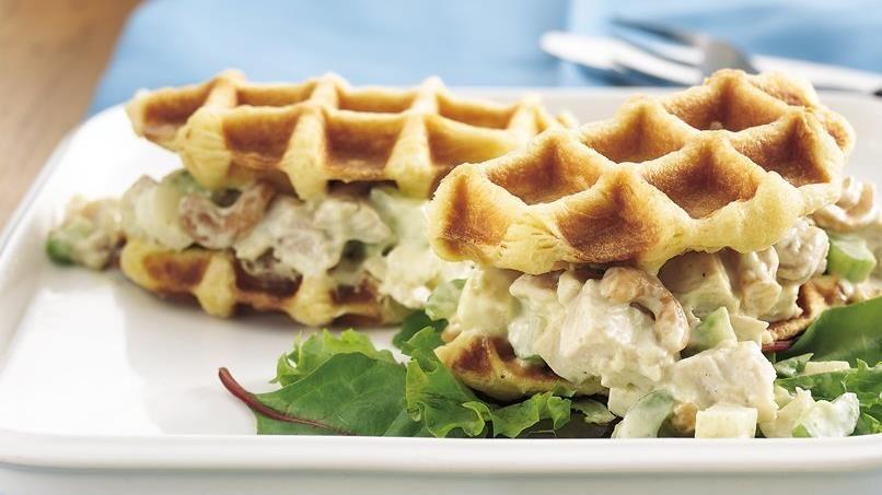 Curried Chicken Salad Waffle Sandwiches