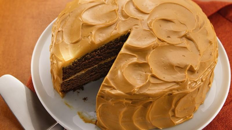 Mexican Chocolate Cake with Caramel Cream Frosting