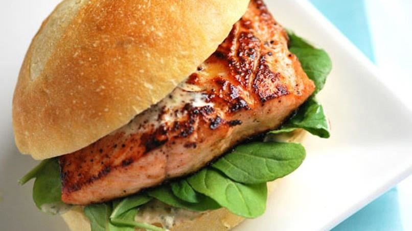 Grilled Salmon Sandwiches with Chipotle Mayo