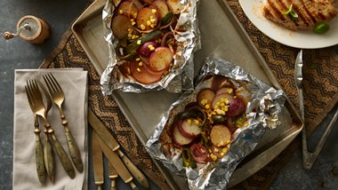 Grilled Corn, Poblano and Potato Foil Pack