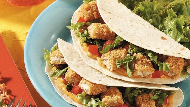 Zesty fish stick tacos recipe from tablespoon for Fish stick tacos