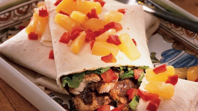 Chicken Burritos with Pineapple Salsa