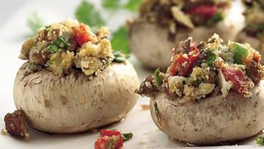 Gorgonzola- and Hazelnut-Stuffed Mushrooms