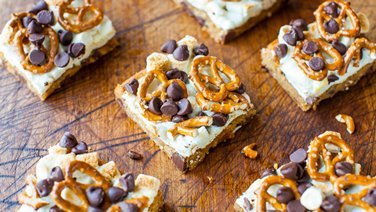 Pretzel S'mores Chocolate Chip Cookie Bars