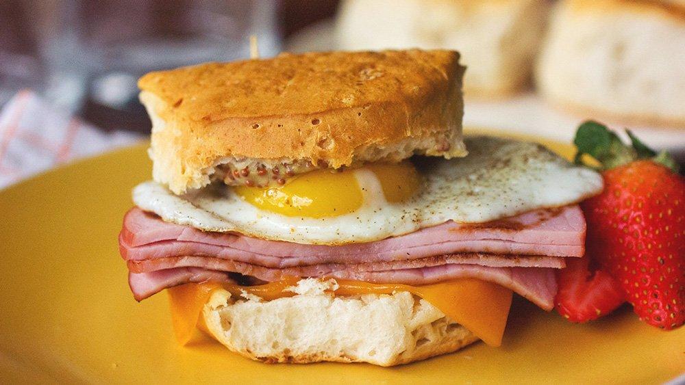 Eggs Benedict Breakfast Sandwiches recipe from Pillsbury.com