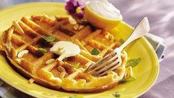 Lemon-Almond Waffles with Lemon Cream
