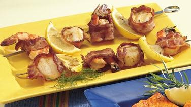 Bacon-Wrapped Seafood Kabobs