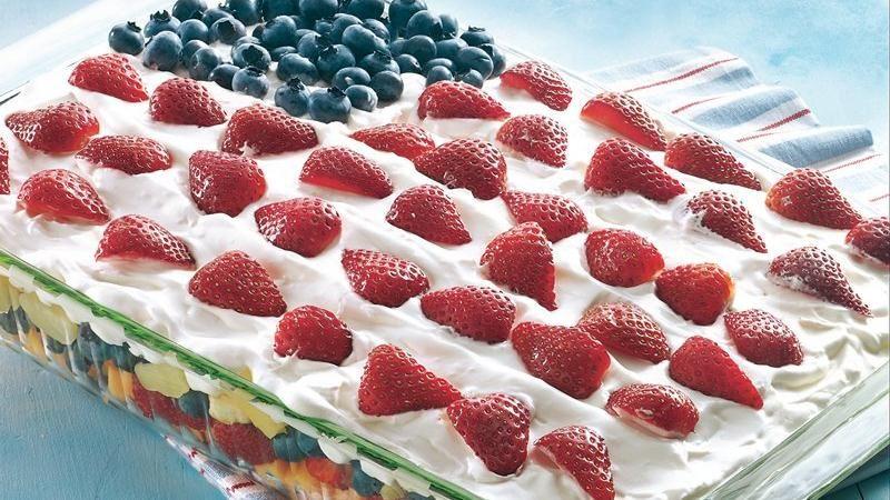 Layered Fruit Flag Salad