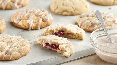 Cranberry-Stuffed Eggnog Cookies