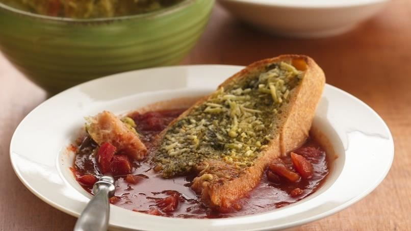 Italian Tomato Soup with Pesto-Cheese Toasts
