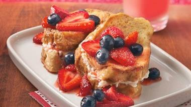 Cream Cheese French Toast Bake with Strawberry Topping