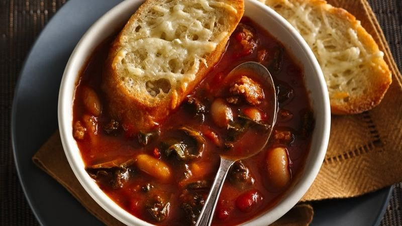 Italian Sausage Kale Soup with Cheesy Crostini
