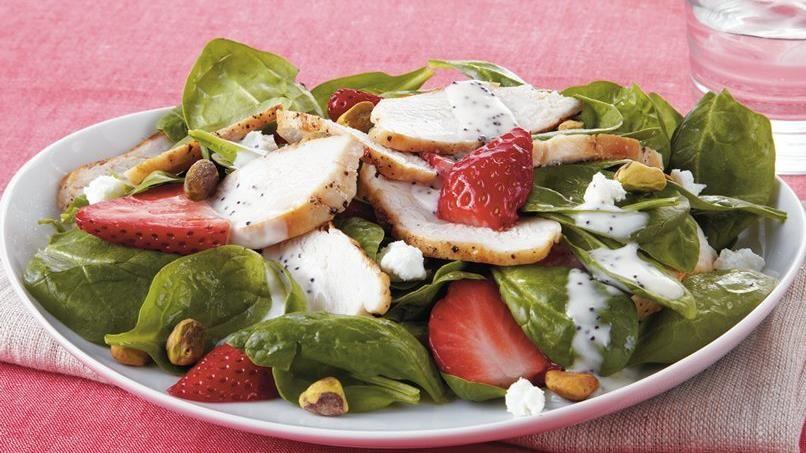 Strawberry Chicken Spinach Salad