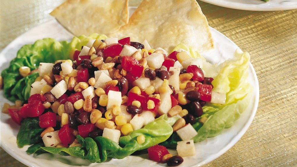 Corn and Black Bean Salad with Tortilla Wedges