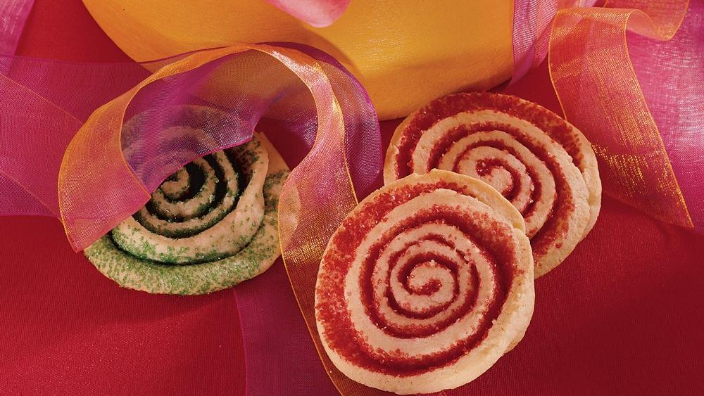 Red and Green Holiday Pinwheel Cookies