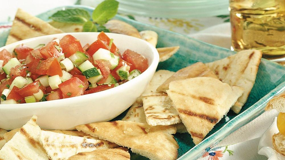 Minted Tomato Salsa with Grilled Pita Chips