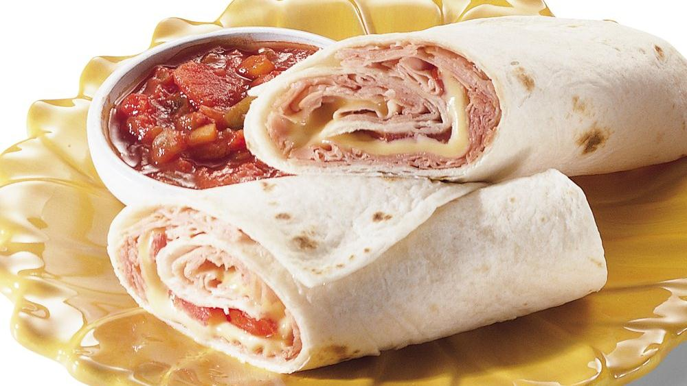 Hot Ham, Cheese and Tomato Wraps