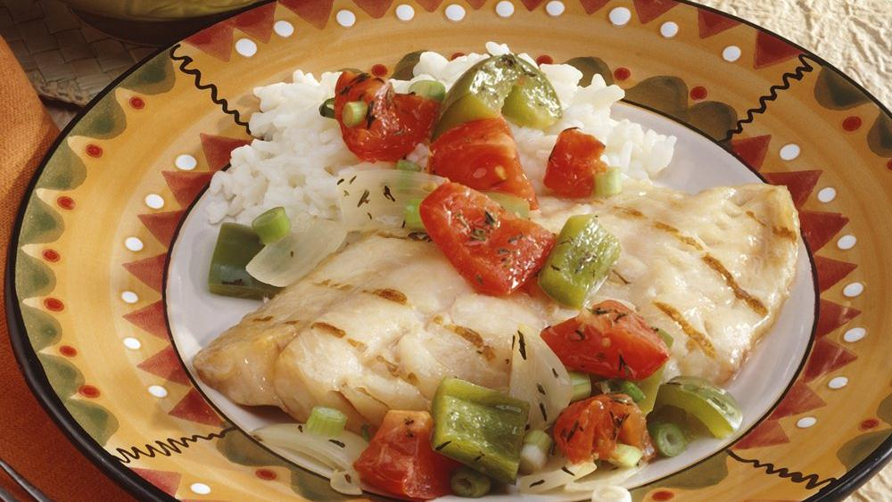 Green Pepper- and Tomato-Topped Snapper