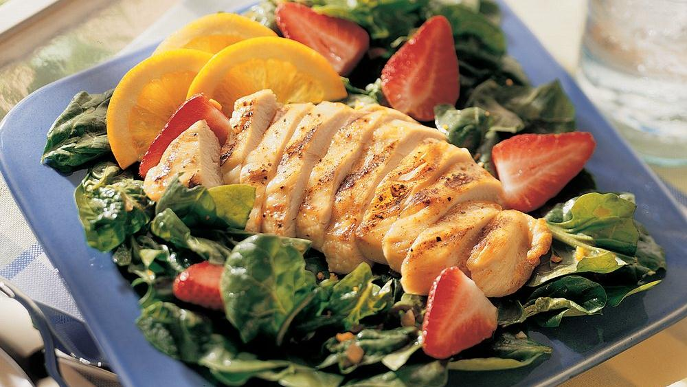Grilled Chicken and Spinach Salad with Orange Dressing