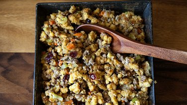 Corn Biscuit Stuffing with Sausage and Cranberries