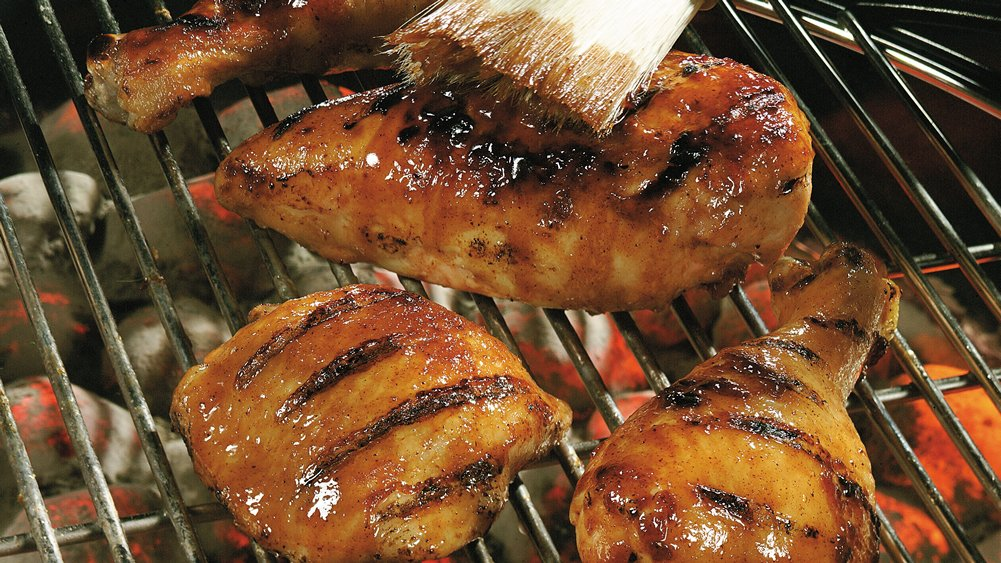 Grilled Apple-Sweet Barbecued Chicken