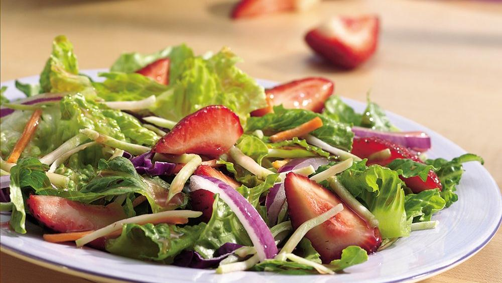 Romaine-Broccoli Salad with Strawberries