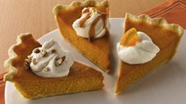 Classic Pumpkin Pie with a Trio of Toppings