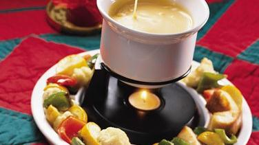 Cheese Fondue With Roasted Vegetable Dippers