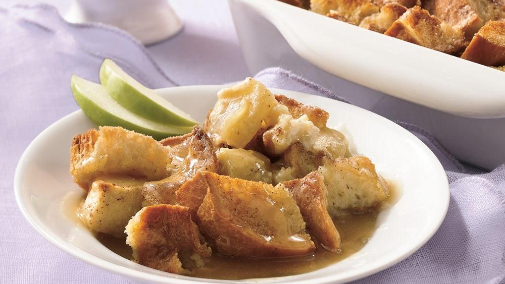 Apple Bread Pudding with Warm Butter Sauce